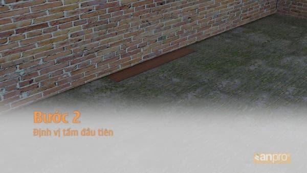 Định vị tấm sàn nhựa giả gỗ đầu tiên