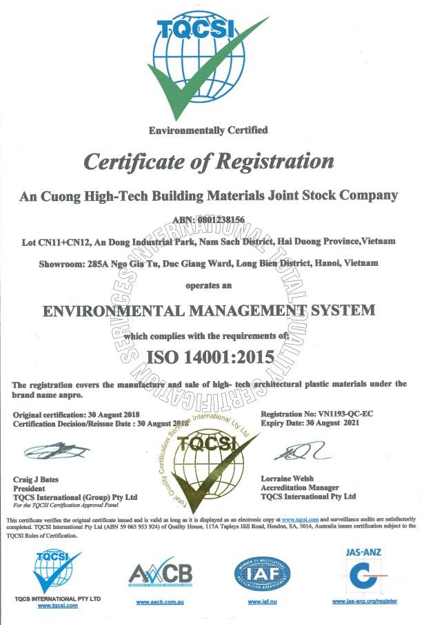Cer14001 2015 - Advantages