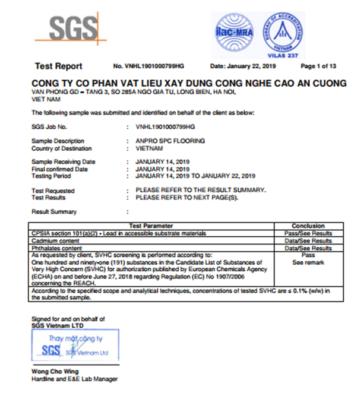 SGS Test report 354x400 - Sàn AnPro vân gỗ SA151