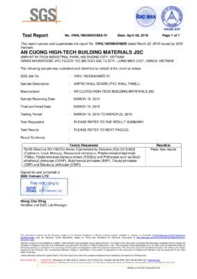1 Pass Anpro Wall Board Test Report SGS Vietnam 1 283x400 - GIẢI PHÁP KIẾN TRÚC DÀNH CHO NHÀ Ở VÀ GIA ĐÌNH