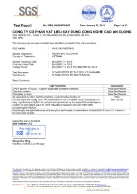 2 SPC Flooring Test Report  SGS Vietnam 01 283x400 - GIẢI PHÁP KIẾN TRÚC DÀNH CHO NHÀ Ở VÀ GIA ĐÌNH