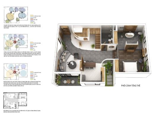 0003 2 566x400 - Bài dự thi của TRẦN TUẤN ANH – thiết kế căn hộ chung cư 95m2 dành cho cặp vợ chồng trẻ và cậu con trai 2 tuổi