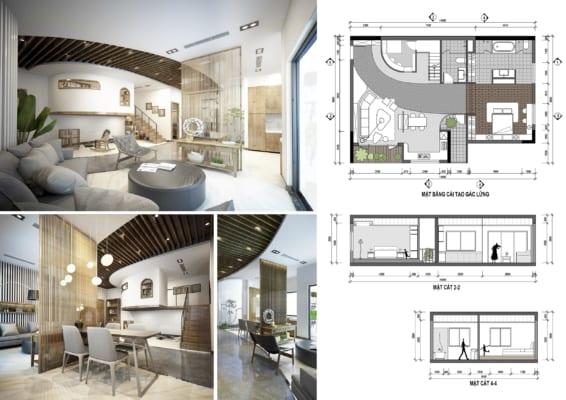 0005 2 566x400 - Bài dự thi của TRẦN TUẤN ANH – thiết kế căn hộ chung cư 95m2 dành cho cặp vợ chồng trẻ và cậu con trai 2 tuổi