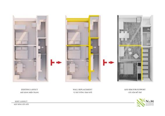 0006 1 566x400 - Bài dự thi N&M - Thiết kế lại khu căn hộ tập thể cũ ở Khương Thượng - Đống Đa - Hà Nội