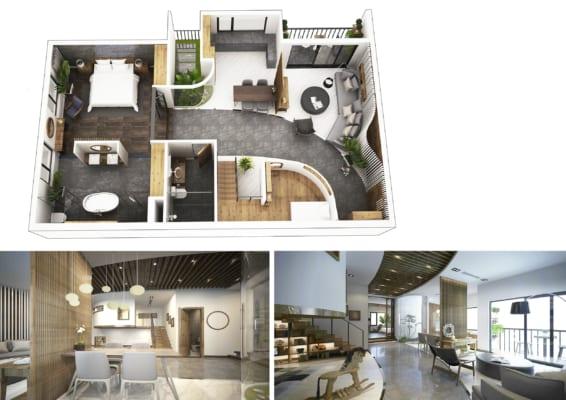 0006 2 566x400 - Bài dự thi của TRẦN TUẤN ANH – thiết kế căn hộ chung cư 95m2 dành cho cặp vợ chồng trẻ và cậu con trai 2 tuổi