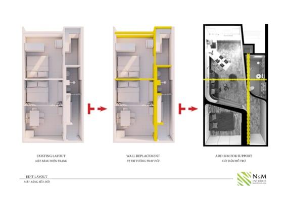 0006 566x400 - Bài dự thi N&M - Thiết kế lại khu căn hộ tập thể cũ ở Khương Thượng - Đống Đa - Hà Nội