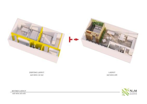 0007 1 566x400 - Bài dự thi N&M - Thiết kế lại khu căn hộ tập thể cũ ở Khương Thượng - Đống Đa - Hà Nội