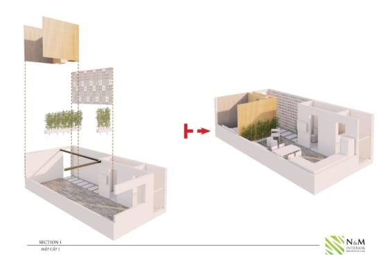 0008 1 566x400 - Bài dự thi N&M - Thiết kế lại khu căn hộ tập thể cũ ở Khương Thượng - Đống Đa - Hà Nội