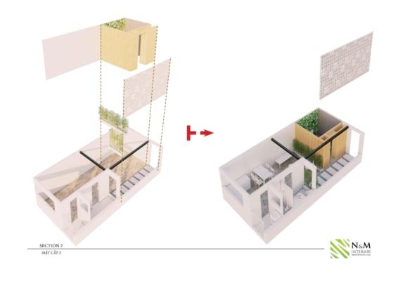 0009 1 566x400 - Bài dự thi N&M - Thiết kế lại khu căn hộ tập thể cũ ở Khương Thượng - Đống Đa - Hà Nội