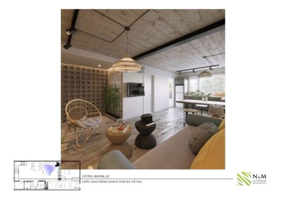0013 1 566x400 - Bài dự thi N&M - Thiết kế lại khu căn hộ tập thể cũ ở Khương Thượng - Đống Đa - Hà Nội