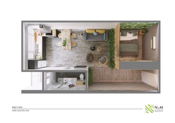 0021 1 566x400 - Bài dự thi N&M - Thiết kế lại khu căn hộ tập thể cũ ở Khương Thượng - Đống Đa - Hà Nội