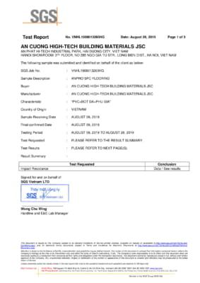 8. Chứng nhận Impact Resistance ASTM F1265 03a Kháng va đập 1 283x400 - Chứng chỉ sản phẩm