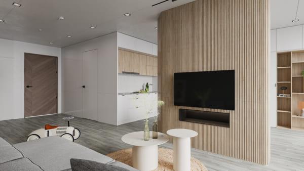 KHACH BEP 1 600x338 - Bài dự thi của TRẦN XUÂN NGHĨA - Thiết kế và cải tạo không gian nội thất khách bếp căn hộ Chung cư An Bình City.