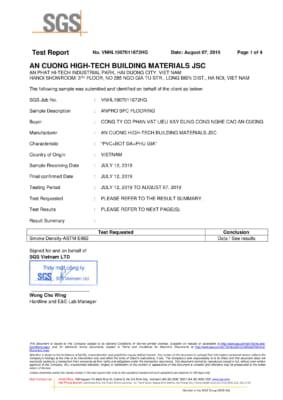 Test Mật độ khói sàn SPC ASTM E662 1 283x400 - Chứng chỉ sản phẩm