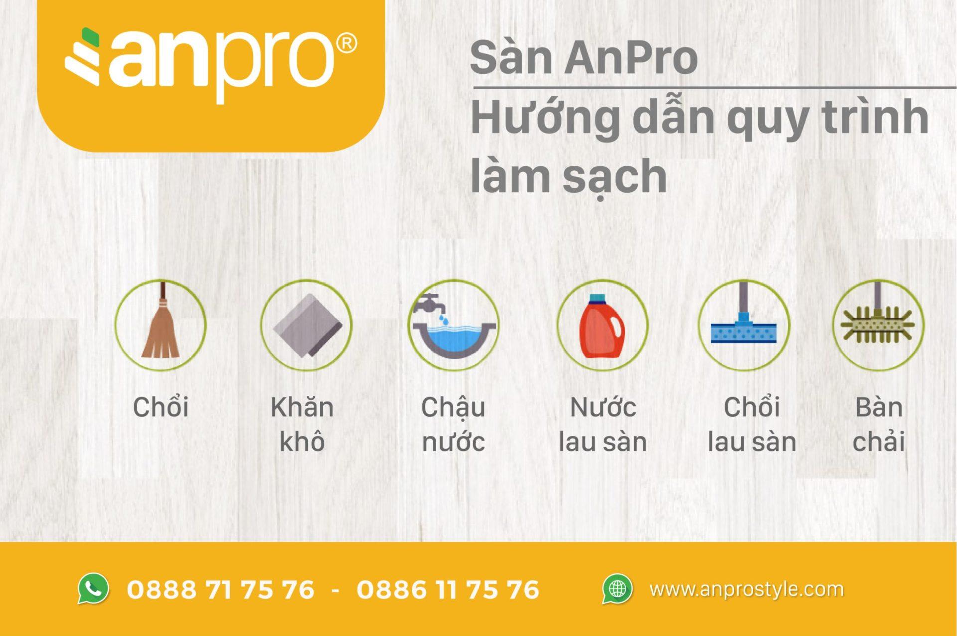 1 - Cách vệ sinh sàn vân gỗ AnPro