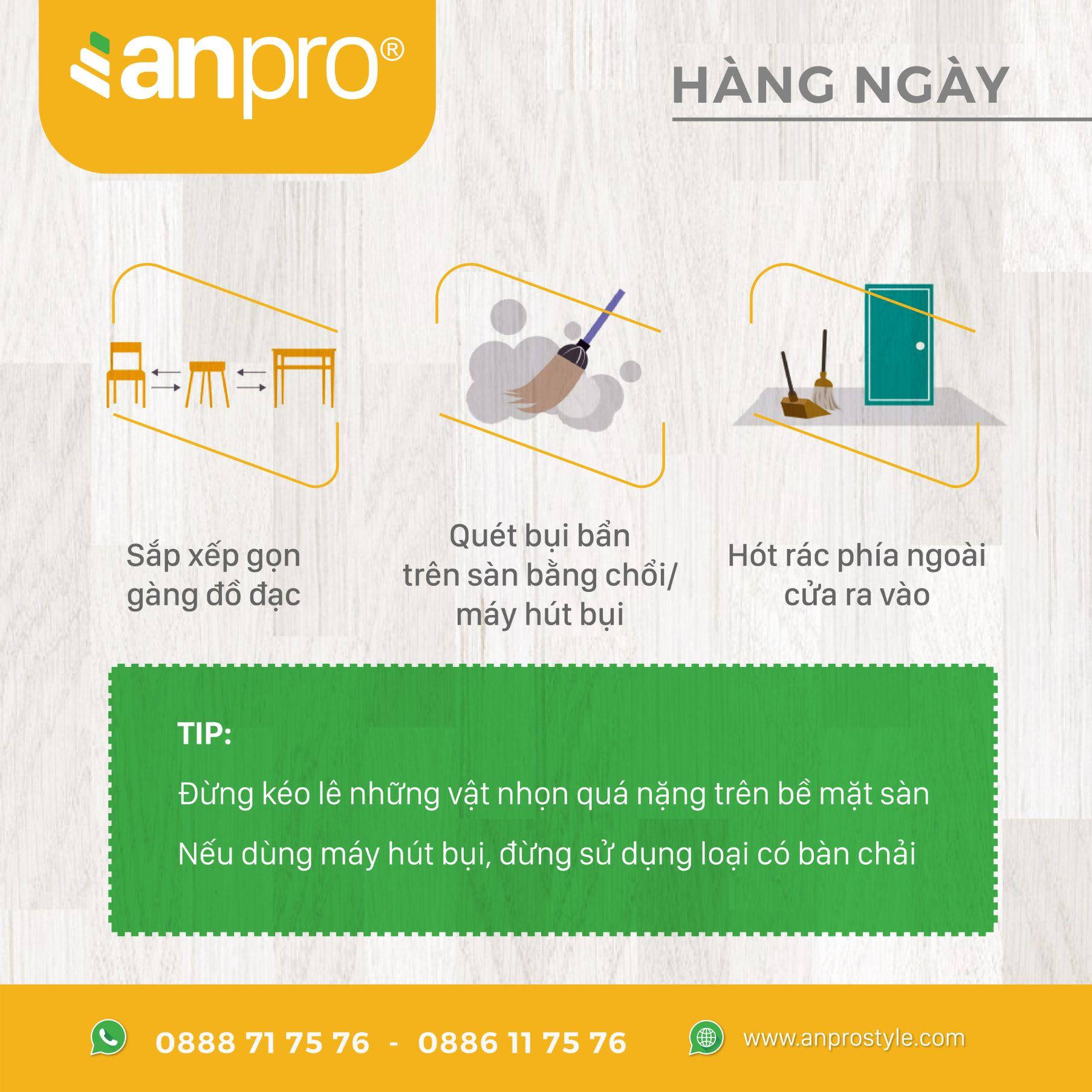 2 - Cách vệ sinh sàn vân gỗ AnPro
