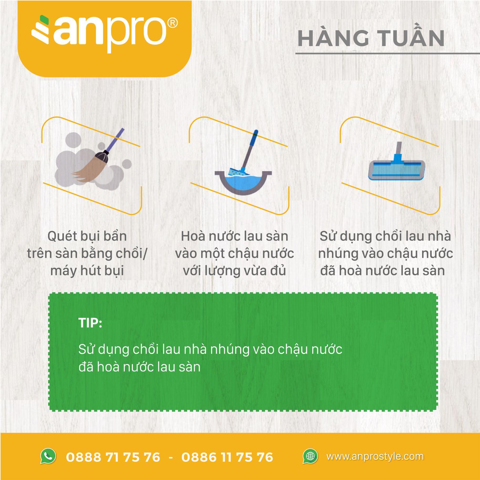 3 - Cách vệ sinh sàn vân gỗ AnPro