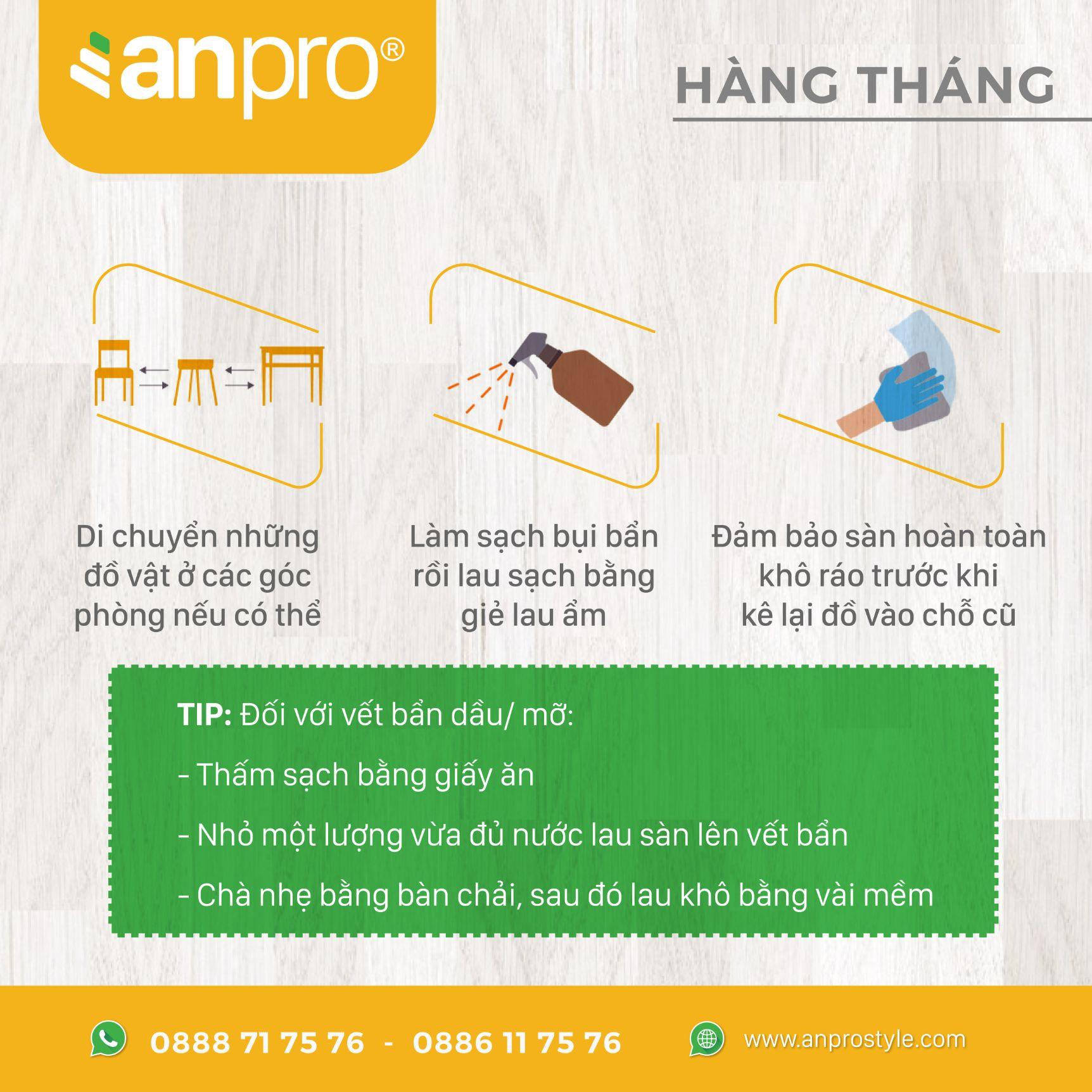 4 - Cách vệ sinh sàn vân gỗ AnPro