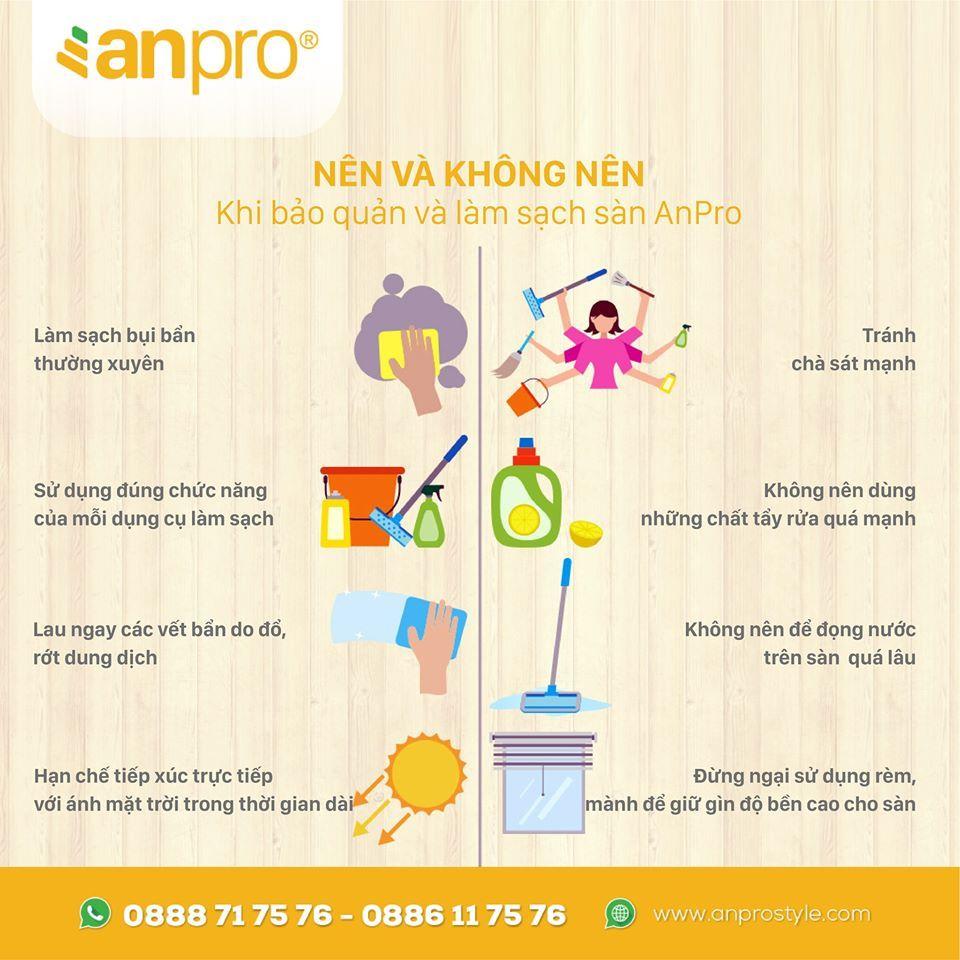5 - Cách vệ sinh sàn vân gỗ AnPro