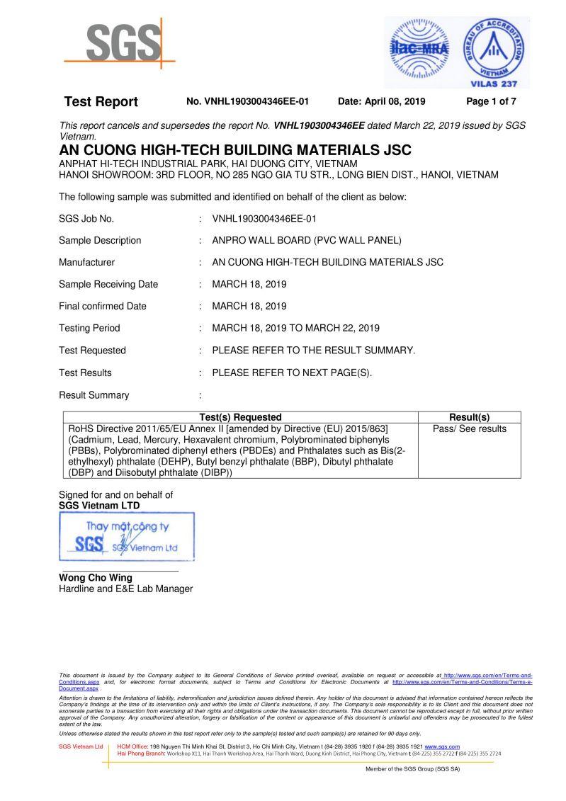 1. Chứng nhận tuân thủ chỉ thị RoHS  wall panel anpro - Certificates