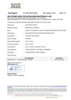 7 Chứng nhận Static Coefficient Of Friction ASTM D2047 17 Khả năng kháng trơn trượt wall panel anpro 283x400 - Certificates